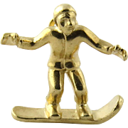 Vintage 14K Yellow Gold Snowboarder Pendant