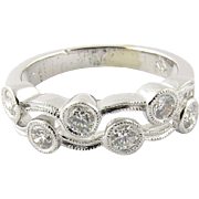 Vintage 18K White Gold and Diamond Wave Double Band Ring Size 6.75