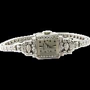 Hamilton Ladies 14K White Gold and Diamond Watch Hand Winding