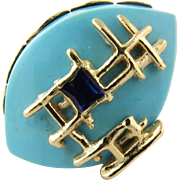 Vintage 14K Yellow Gold Turquoise and Sapphire Brooch Pin