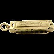 Vintage 14K Yellow Gold Harmonica Charm