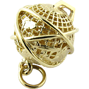 Vintage 14K Yellow Gold Spinning World Globe Charm