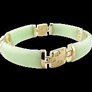 Vintage 14K Yellow Gold Jade Dragon Bracelet