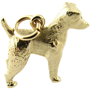 Vintage 14K Yellow Gold Large Dog Charm
