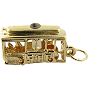 Vintage 14K Yellow Gold San Francisco Trolley Cable Car Charm