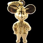Vintage 18K Yellow Gold Toppo Gigio Mouse Charm Pendant