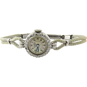 Vintage Bucherer Engraved Platinum and Diamonds Ladies Watch