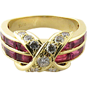 Vintage 14K Yellow Gold Ruby and Diamond X Ring Size 5.75