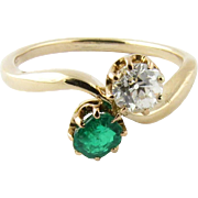 Vintage 14K Yellow Gold Diamond and Emerald Ring Size 6.75