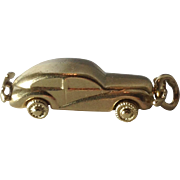 Vintage 14K Yellow Gold 3D Car Charm