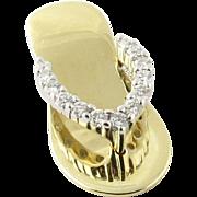 Vintage Albert David Pearls and Gems 14K Yellow Gold Diamond Sandal Pendant