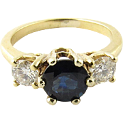 Vintage 14K Yellow Gold Diamond and Sapphire Ring Size 4.75