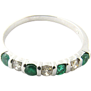 Vintage 14K White Gold Emerald and Diamond Band Size 7.25