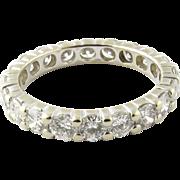 Vintage 14K White Gold Diamond Eternity Band Size 5.25