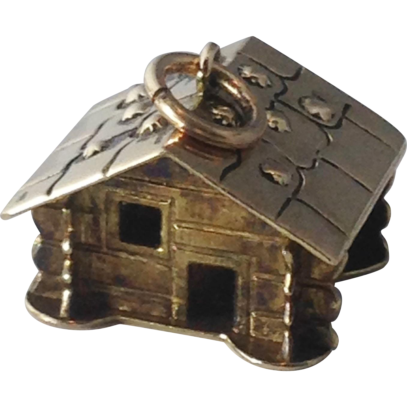 vintage 10k yellow gold 3d log cabin charm from