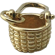 Vintage 14K 3D Yellow Gold Nantucket Basket Charm