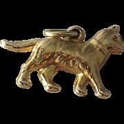 Vintage 14K Yellow Gold 3D Cat Charm