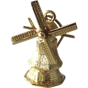 Vintage 14K Yellow Gold 3D Windmill Charm