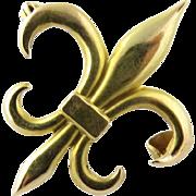 Vintage 10K Yellow Gold Fleur De Lis Pin Brooch