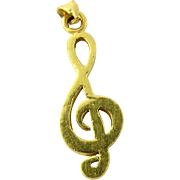 Vintage 22 Karat Yellow Gold Clef Note Charm