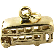 Vintage 14 Karat Yellow Gold Double Decker Bus Charm