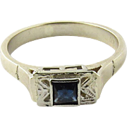 Vintage 14K White Gold Sapphire Ring Size 4