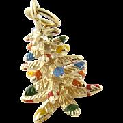 Vintage 14K Yellow Gold Christmas Tree Charm Pendant