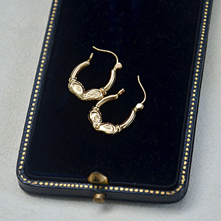 "14K Gold Earrings, ""Kissing Fish"" Vintage Yellow Gold Earrings"