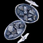 925 Brutalist, Modernist, Minimalist Cuff Links, Sterling Silver, Vintage