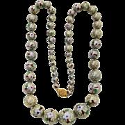 Fine Vintage Cloisonné Graduated Beaded Necklace, Filigree Clasp, Hand Tied Silk Knots