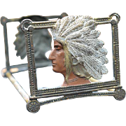 Cast Iron Hand Painted Native American Indian Chief Expanding Book Rack