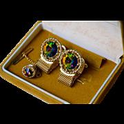 VTG Rivoli Rainbow Glass Cufflinks / Tie Clip Set