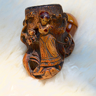 Meerschaum Pipe Figural Woman Art Nouveau, Antique Victorian Tobacco Smoking Pipe with Woman, Tree and Dog