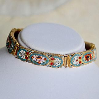 Micro Mosaic Glass Bracelet, Italian Floral Bracelet, Vintage