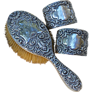 Sterling Silver Cuff Bracelets Pair with Matching Sterling Silver Hair Brush, Christmas '96