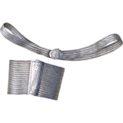 900 Silver Choker Necklace Bracelet Set, Art Deco Silver Woven Mesh Parure, Trabzon Turkey