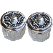 Sterling Silver Lidded Cherub and Cut Glass Vanity Jars, Sterling Silver Angel Dresser Boxes