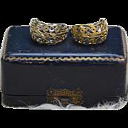 Sterling Silver & Gold Vermeil Cut Filigree Earrings, Vintage