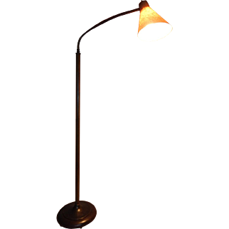 Mid Century Modern Gooseneck Floor lamp with Fiberglass Shade