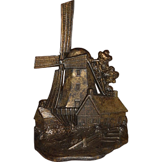 1926 AM Greenblatt Studios Windmill with Two Cottages Doorstop