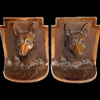 "Vintage Art Deco Bronze ""Jeanne L Drucklieb"" German Shepherd Bookends"