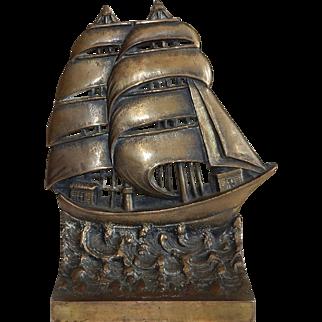 Vintage Bradley & Hubbard Cast Iron Bronzed Sailing Ship Doorstop