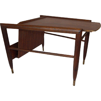 Vintage Mid Century Modern Brown Saltman Wedge Table