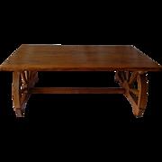 Vintage 1950s Western Monterey Style Wagon Wheel Oak Coffee Table