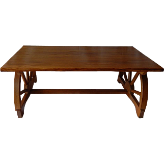 Vintage 1950s Western Monterey Style Wagon Wheel Oak Coffee Table