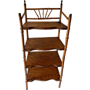 Antique Victorian Bamboo Four Shelved Bookcase/Etagere with Pyrography