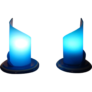 Vintage Pair of Blue Acrylic Mood Lamps