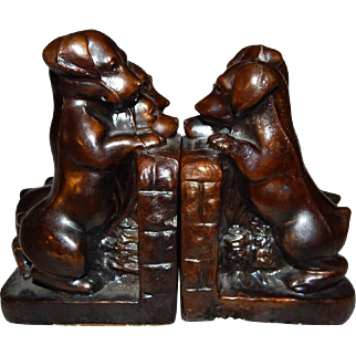 "Ronson Art Metal Bronzed ""Triplets"" Bookends"
