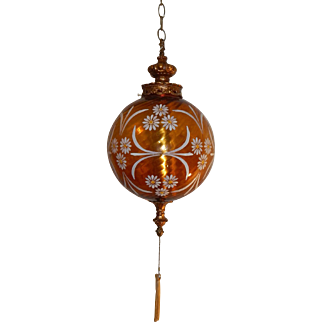 1970's Vintage Amber Glass Painted Swag/Pendant Lamp