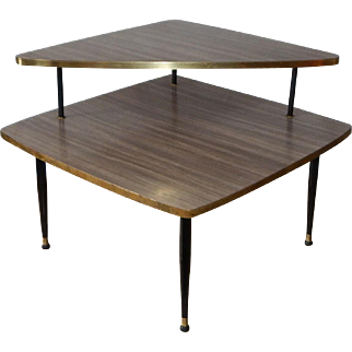 Mid Century Modern Two Tiered Formica Corner Table